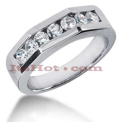 14K Gold Men's Diamond Wedding Band 1.19ct