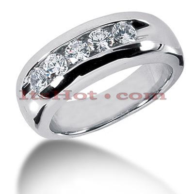 14K Gold Men's Diamond Wedding Band 1ct