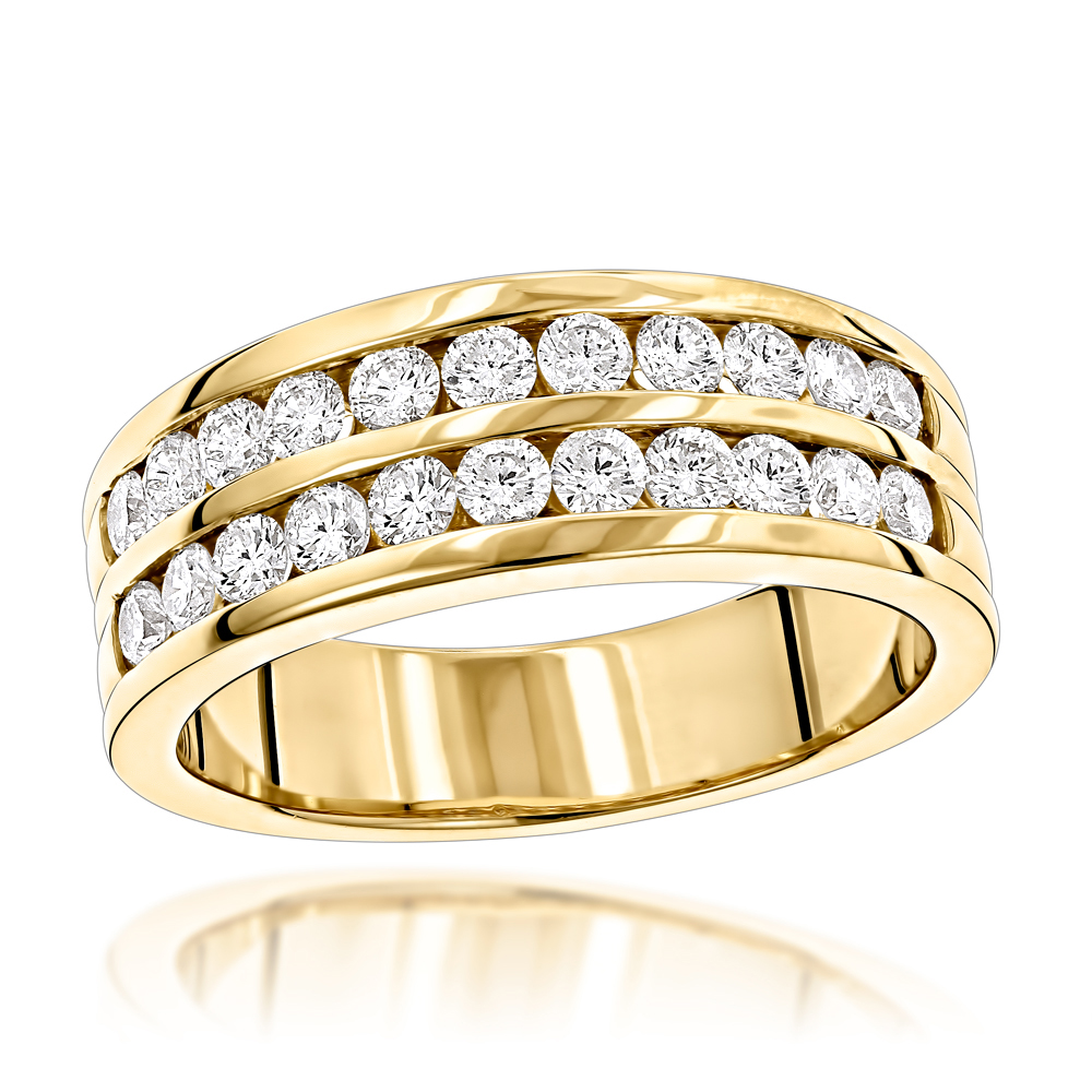 14K Gold Mens Diamond Wedding Ring w 1.5ct of Round Diamonds by Luxurman