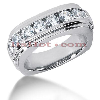 14K Gold Men's Diamond Wedding Ring 1.60ct