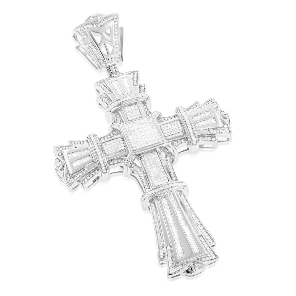 14K Gold Mens Large Diamond Cross Pendant 3.72ct
