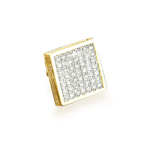 14K Gold Mens Pave Round Diamond Stud Earring 0.38ct