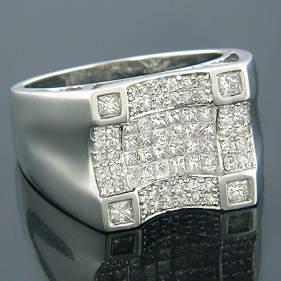 14K Gold Mens Princess Cut Round Diamond Ring 1.68ct