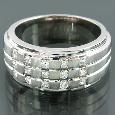 14K Gold Mens Princess Diamond Wedding Ring 0.83ct