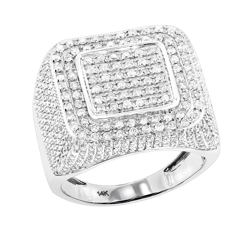 14K Gold Mens Square Diamond Ring 2.63ct