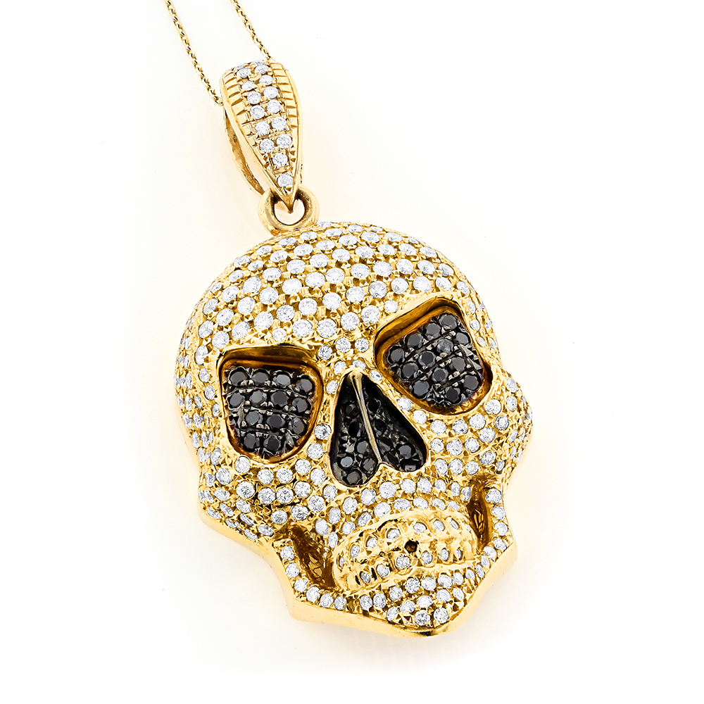 14K Gold Mens White Black Diamond Skull Pendant 9.17ct