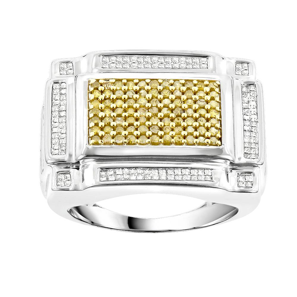 14K Gold Mens White Yellow Diamond Ring 1.50ct