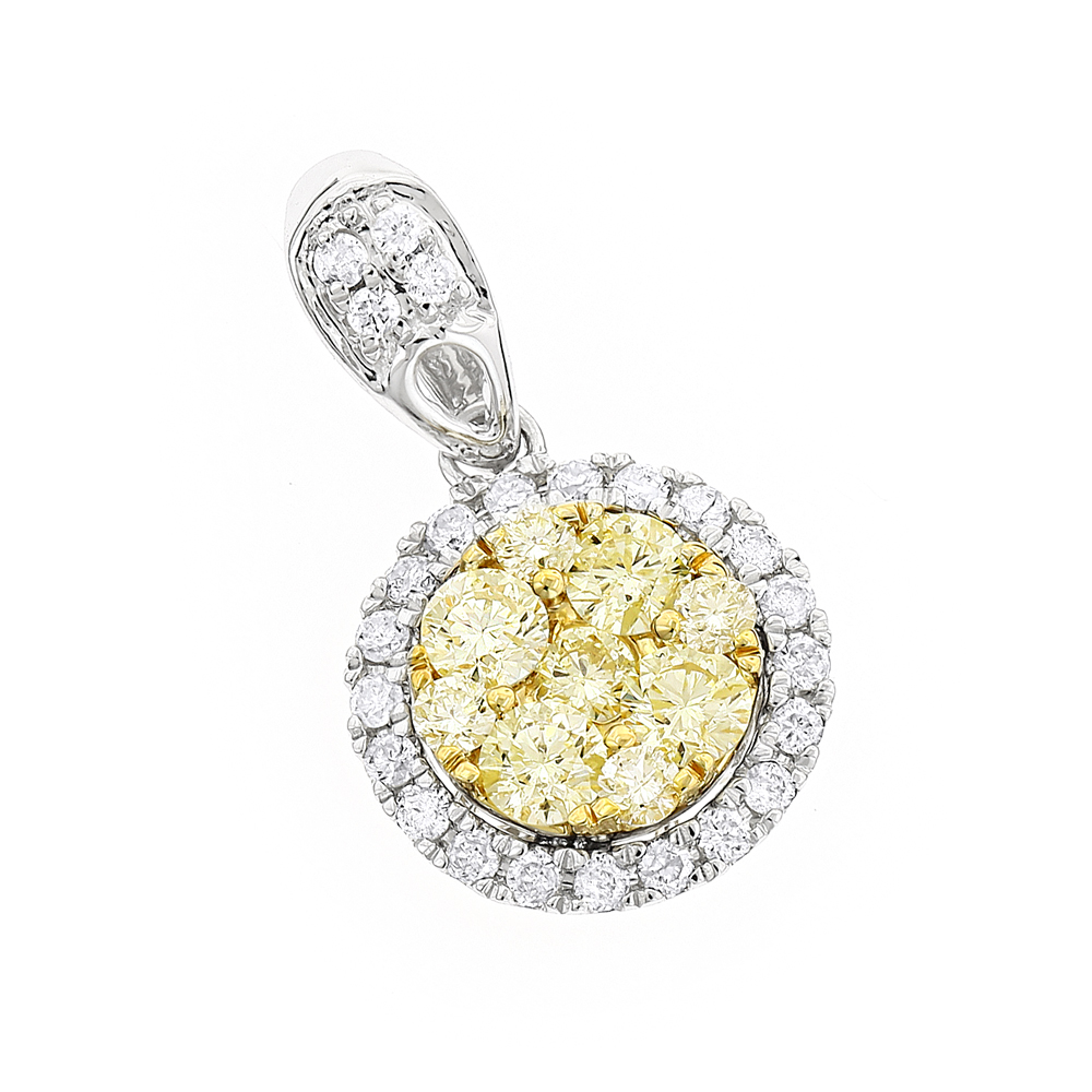 14K Gold Natural Yellow Diamonds Ladies Circle Pendant 1 carat