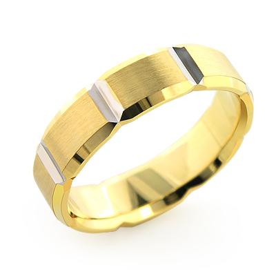 14K Gold Ornamented Wedding Band for Men