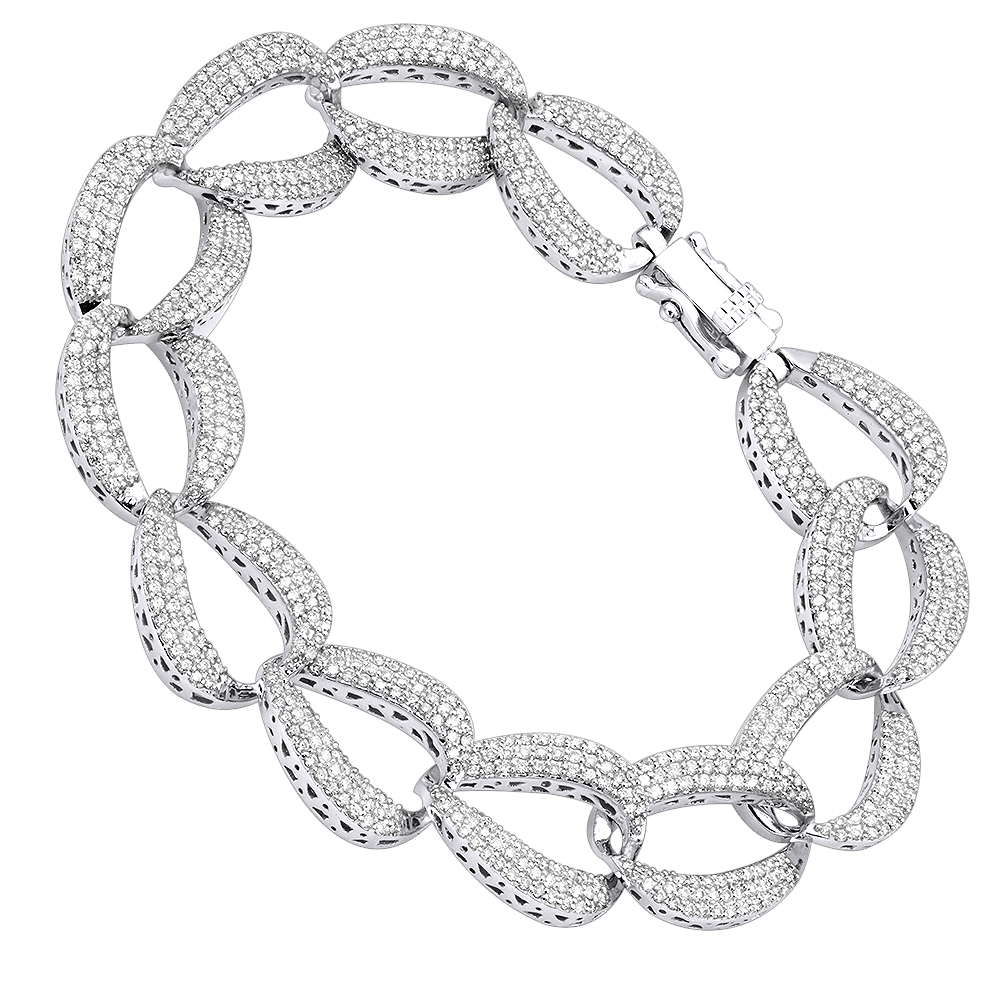 14K Gold Pave Diamond Chain Link Bracelet for Women 3.75ct by Luxurman