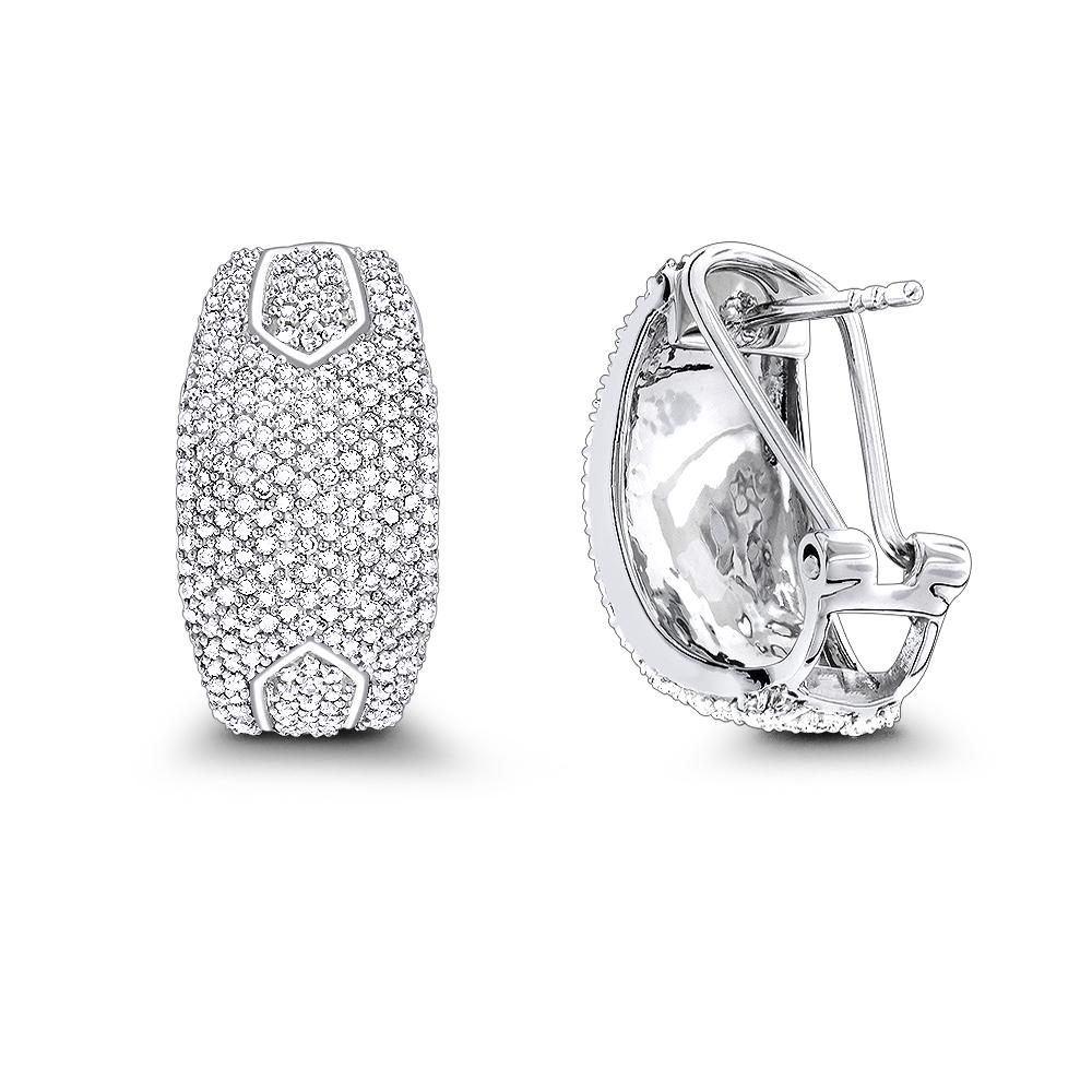 14K Gold Pave Diamond Earrings 1.0ct