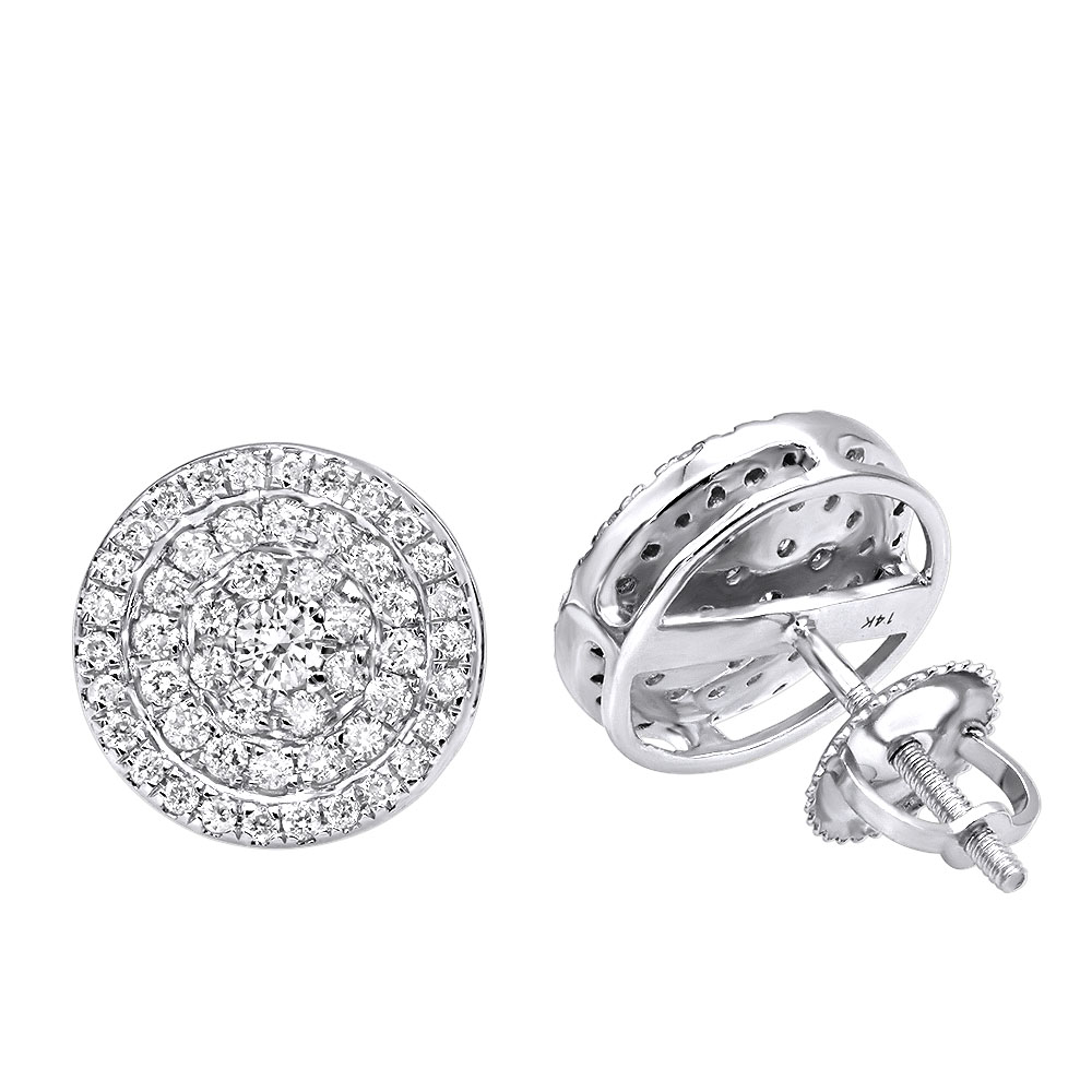 14k Gold Pave Diamond Earrings for Men & Women 3/4ct Studs Real Diamonds