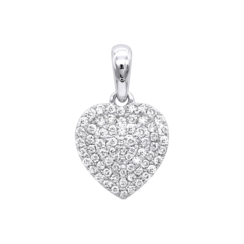 14k gold pave diamond heart pendant for women 5ct by luxurman mozeypictures Image collections