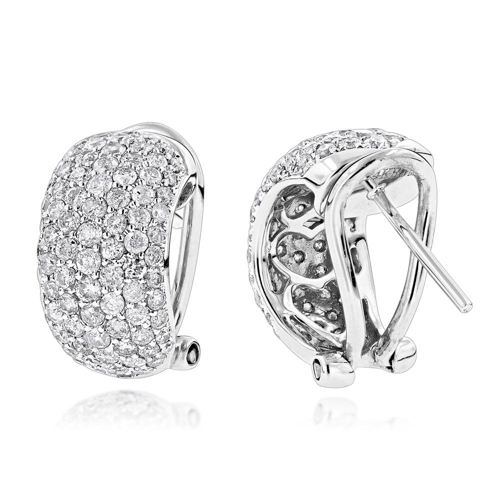 14K Gold Pave Diamond Hoop Earrings 2.5ct