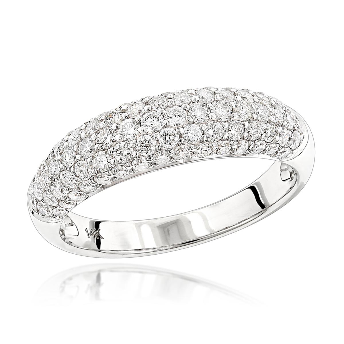 Unique Diamond Wedding Band for Women 14K Gold Pave Diamond Ring 1.3ct