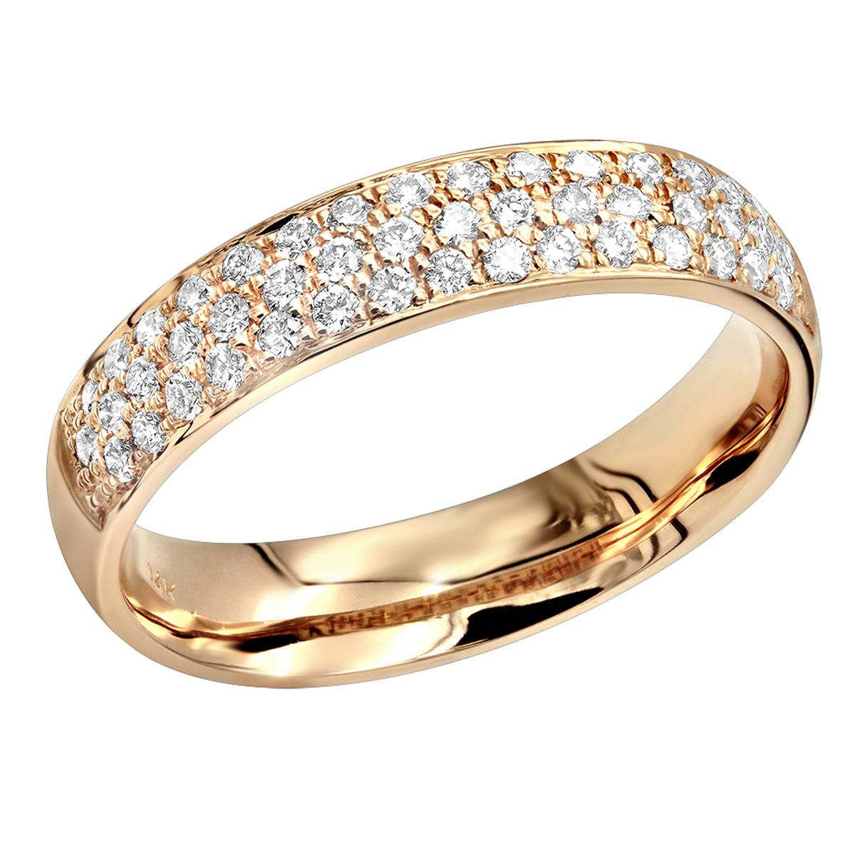 14k Gold Pave Diamond Wedding Band for Women Anniversary Ring Round Diamonds