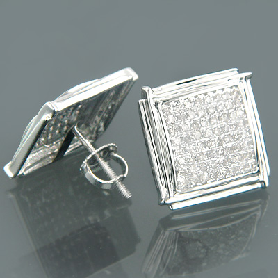 14K Gold Pave Round Diamond Earrings 0.72ct
