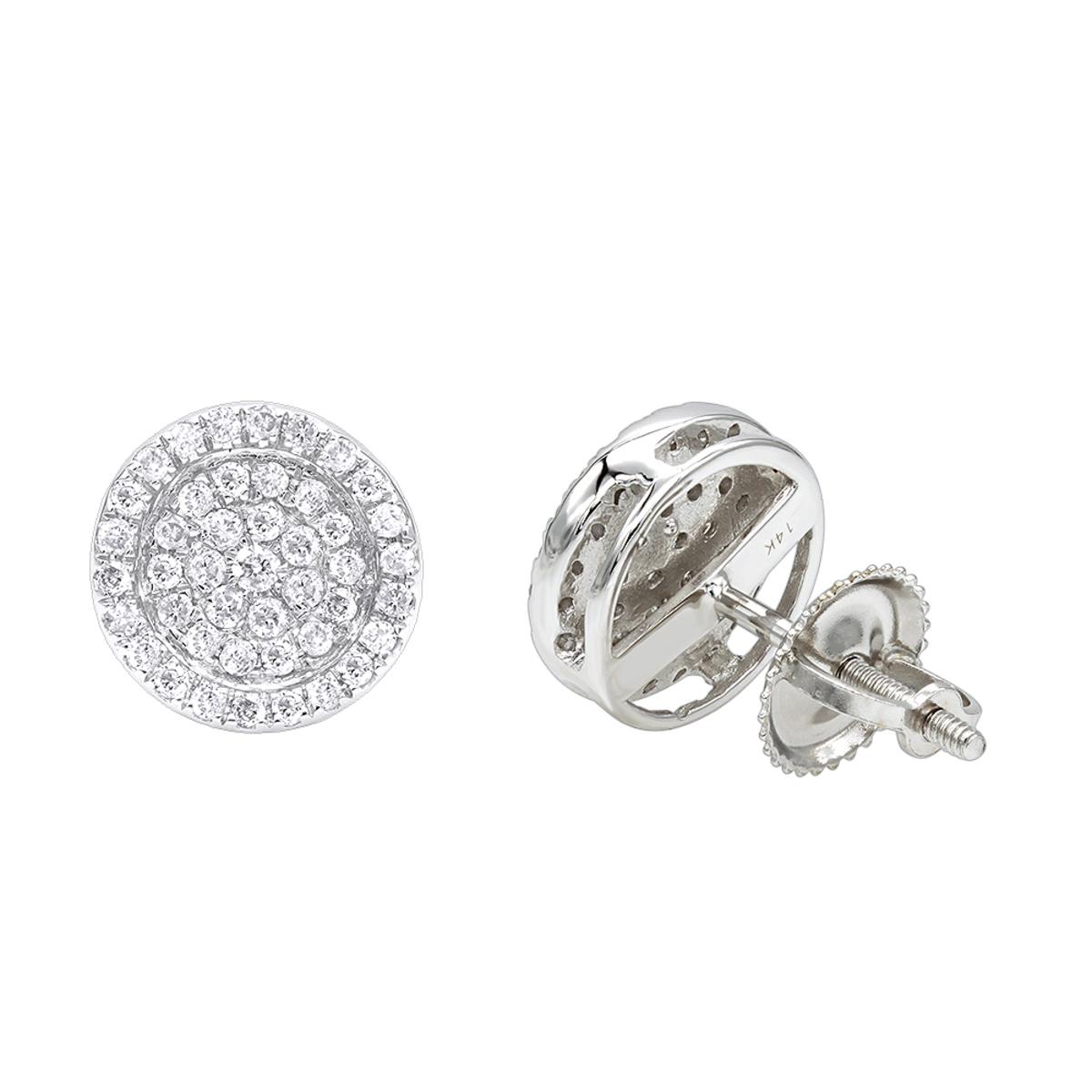 14K Gold Pave Round Diamond Stud Earrings 0.35ct by Luxurman