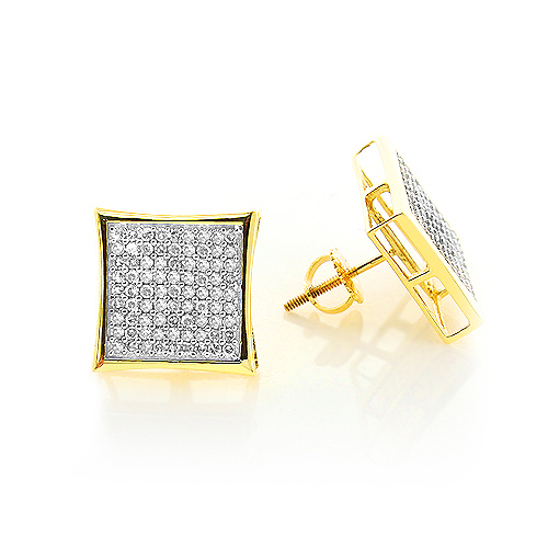 14K Gold Pave Set Round Diamond Earrings 0.87ct