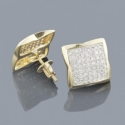14K Gold Pave-Set Round Diamond Stud Earrings 0.60ct