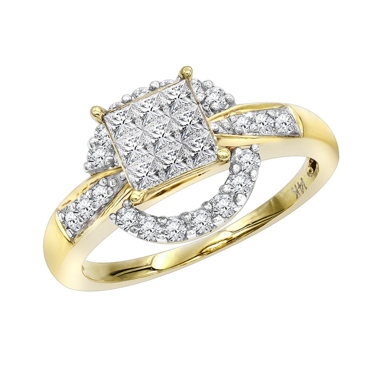 14K Gold Pre-set Diamond Engagement Ring 0.8 ct