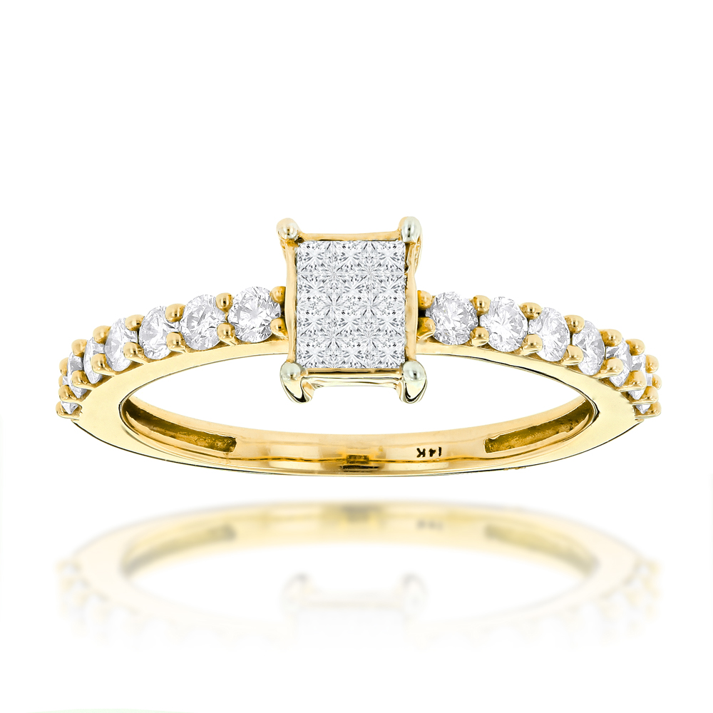 Promise Rings: Affordable 14K Gold Preset Diamond Engagement Ring .7ct