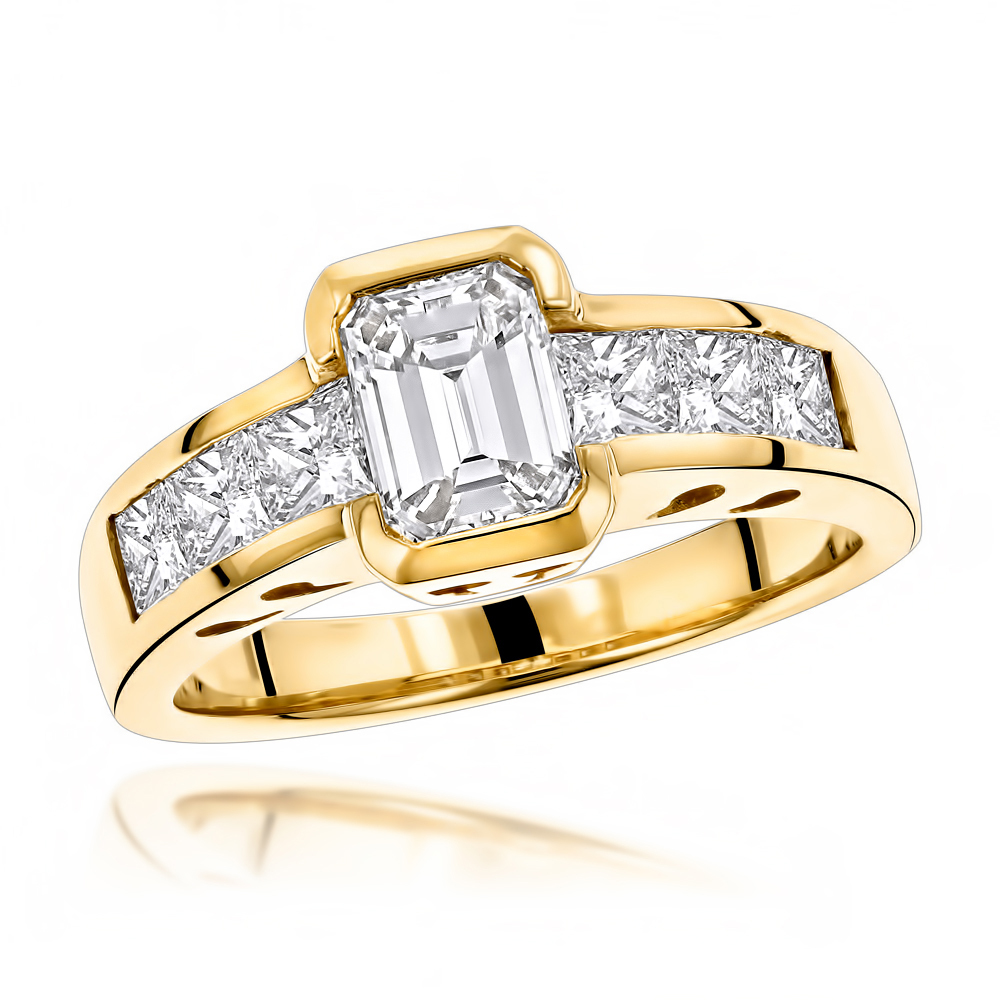 14K Gold Princess and Emerald Cut Diamond Engagement Ring 4ct by Luxurman
