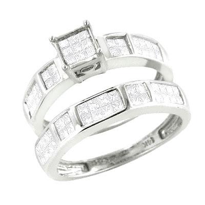 14K Gold Princess Cut Diamond Bridal Ring Set 0.95ct