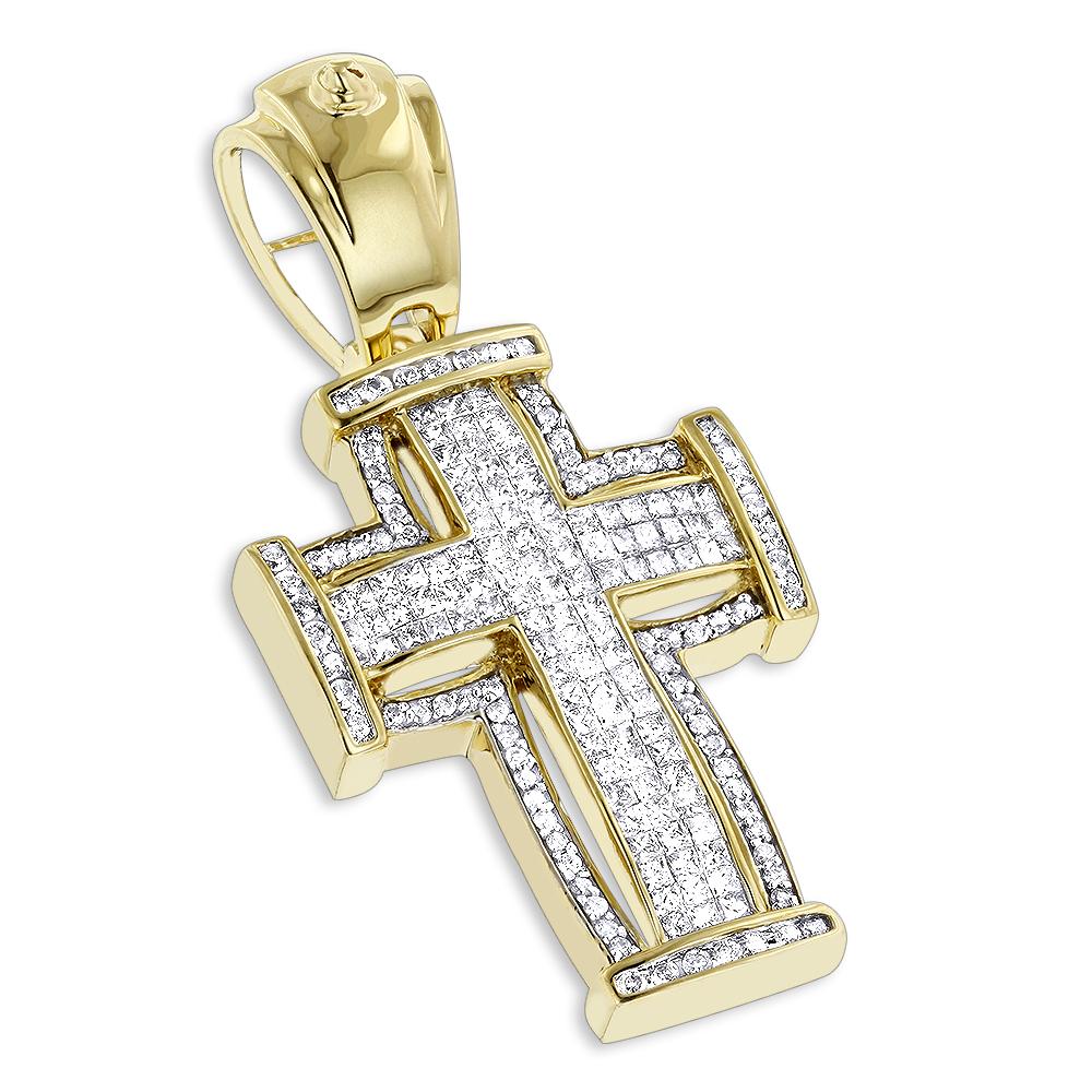 14K Gold Princess Cut Diamond Cross Pendant 2.25ct