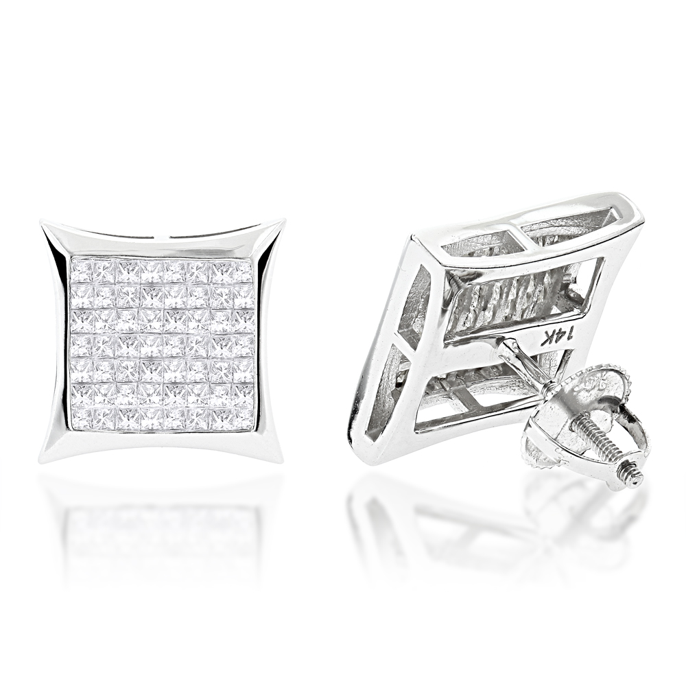 14K Gold Princess Cut Diamond Earrings 1.4ct Invisible Set Kytes