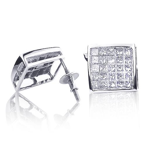 14K Gold Princess Cut Diamond Earrings Studs 2ct Invisible Set