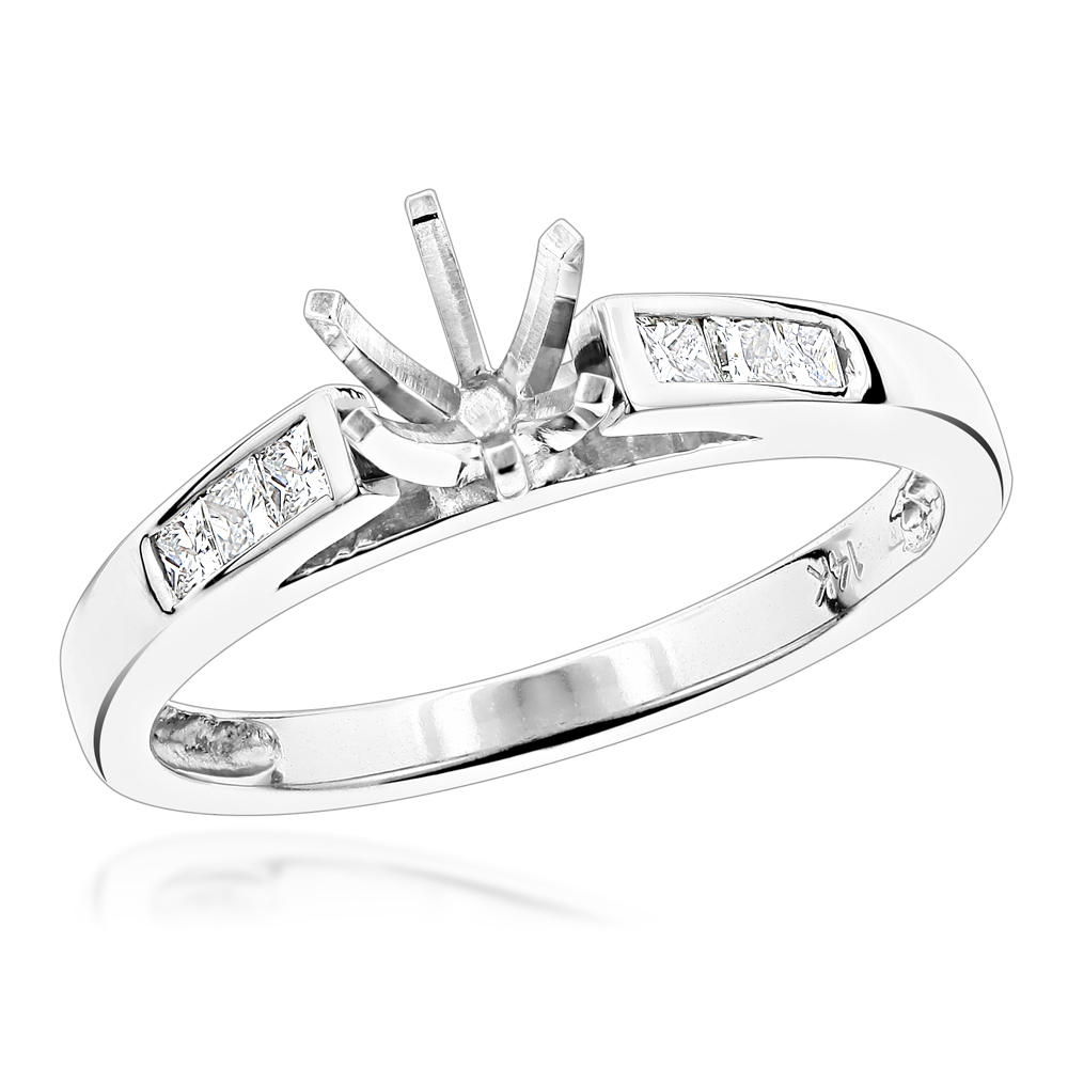 14K Gold Princess Cut Diamond Engagement Ring Mounting 14 Carat Six