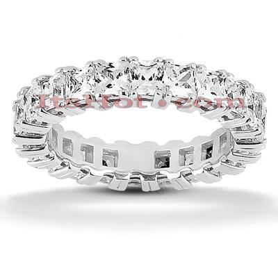 14K Gold Princess Cut Diamond Eternity Ring 3.74ct