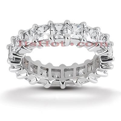 14K Gold Princess Cut Diamond Eternity Ring 5.13ct