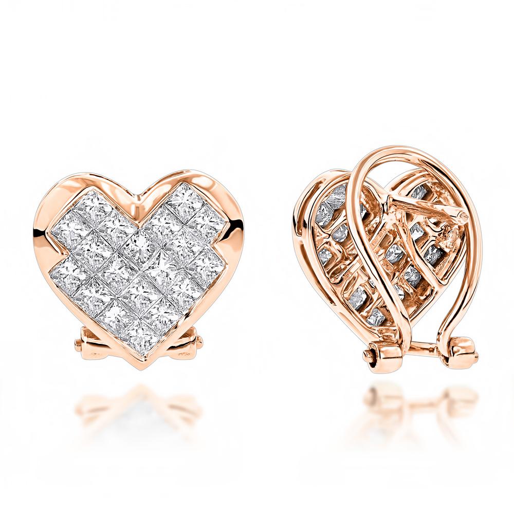 14K Gold Princess Cut Diamond Heart Earrings 1.62ct