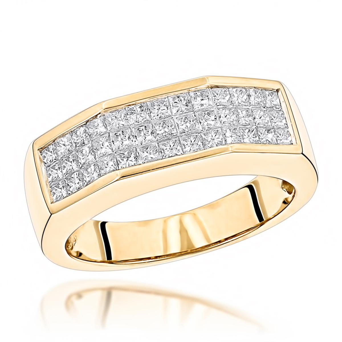 14K Gold Princess Cut Diamond Mens Ring 1.50ct