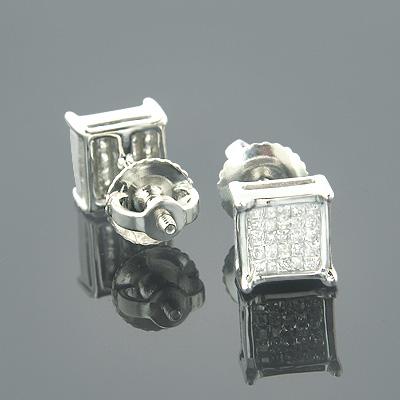 10K Gold Princess Cut Diamond Stud Earrings 0.34ct