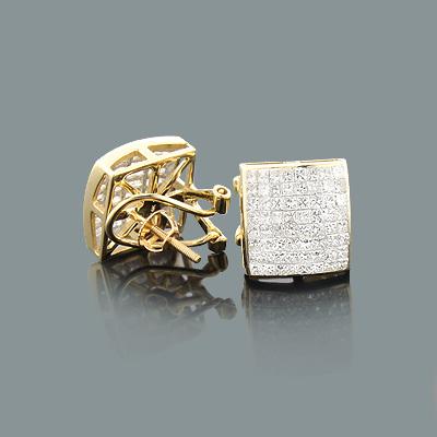 14K Gold Princess Cut Diamond Stud Earrings 2.3ct