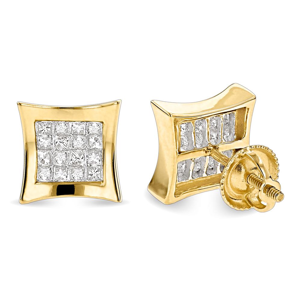 14K Gold Princess Cut Diamond Stud Earrings Kites .65ct
