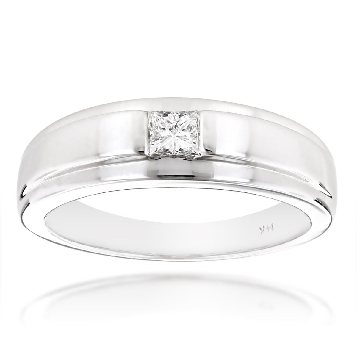 Solitaire 14K Gold Princess Cut Diamond Wedding Band 0.25ct