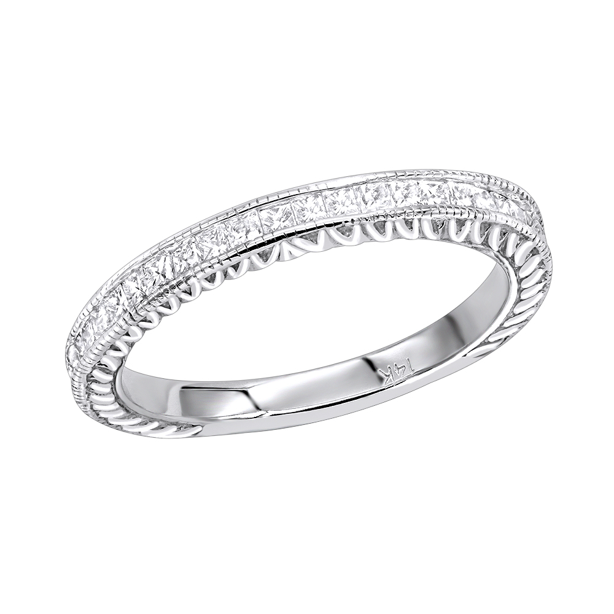 14K Gold Princess Cut Diamond Wedding Band for Women Vintage Style 0.5ct