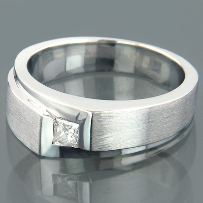 14K Gold Princess Cut Diamond Wedding Ring 1/5ct Solitaire