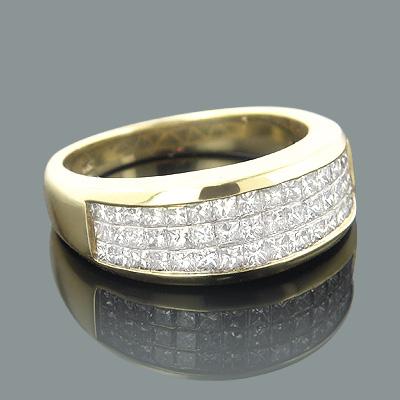 14K Gold Princess Cut Invisible Diamond Band 1.30ct