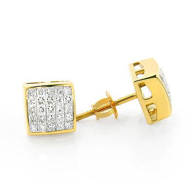 14K Gold Princess Cut Invisible Diamond Earrings 1.1ct