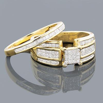 14K Gold Princess Diamond Engagement Ring Set 1.60ct