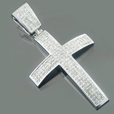 14K Gold Princess Diamond Mens Cross Necklace 5.95ct