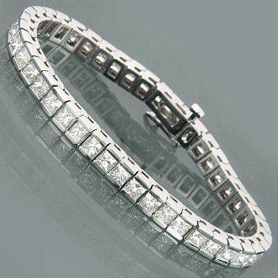 14K Gold Princess Diamond Tennis Bracelet 13.55ct