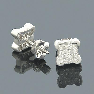14K Gold Princess Invisible Diamond Stud Earrings 0.75