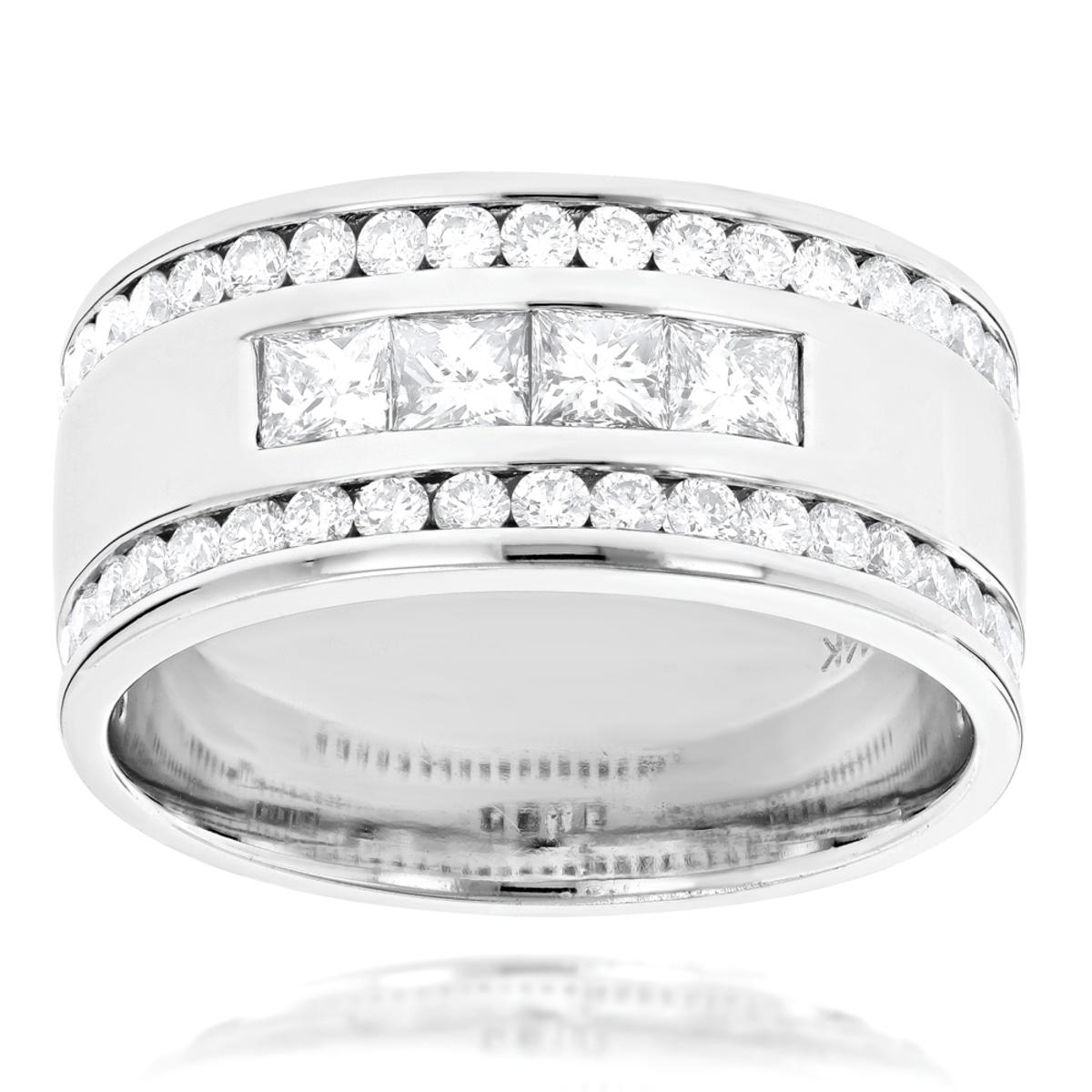 14K Gold Princess Round Diamond Mens Ring Comfort Fit Diamond Band 2.15ct