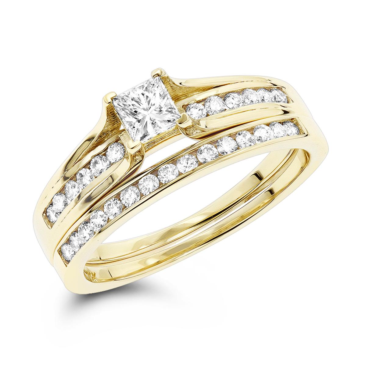 14K Gold Round and Princess Cut Diamond Engagement Ring Set 1.15ct